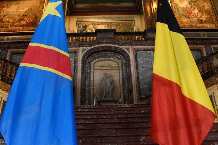 Les drapeaux congolais et belge (illustration)