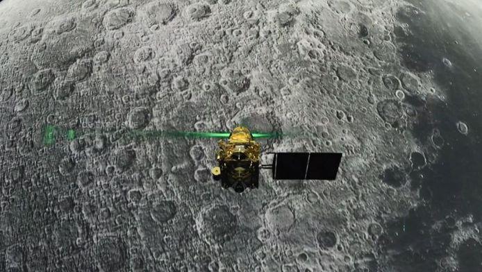 De Vikram lander, vlak voordat hij op de maan zou landen.