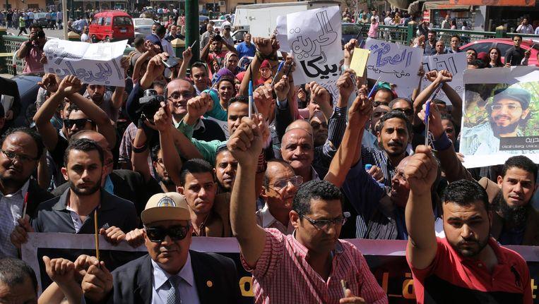 Journalisten demonstreren in Caïro. Beeld epa