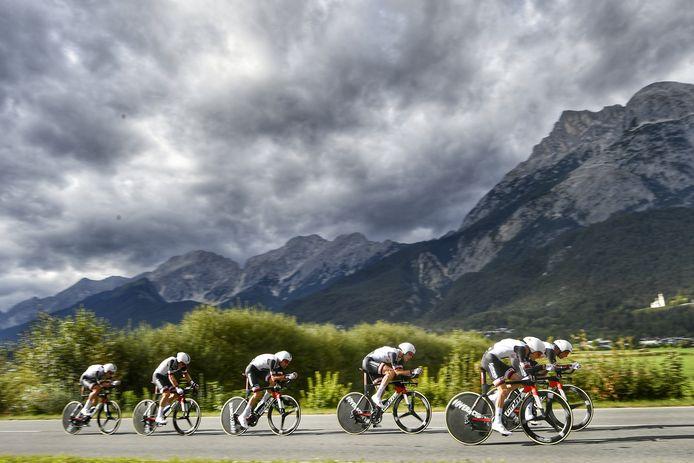 Team Sunweb onderweg tijdens het WK afgelopen week in Innsbruck.