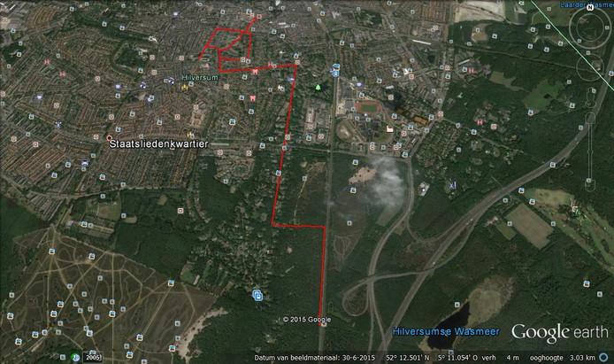 De route die Dascha volgens speurhond Pebble heeft gelopen enkele uren voor haar dood.