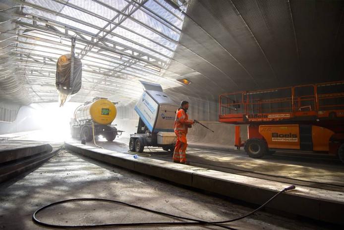 Werkzaamheden aan de Willemstunnel in Arnhem. Foto Rolf Hensel
