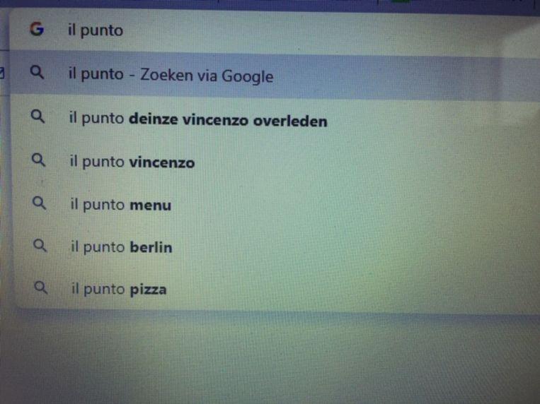 Wie Il Punto Deinze intikt in Google, krijgt als een van de eerste trefwoorden Vincenzo overleden te zien.