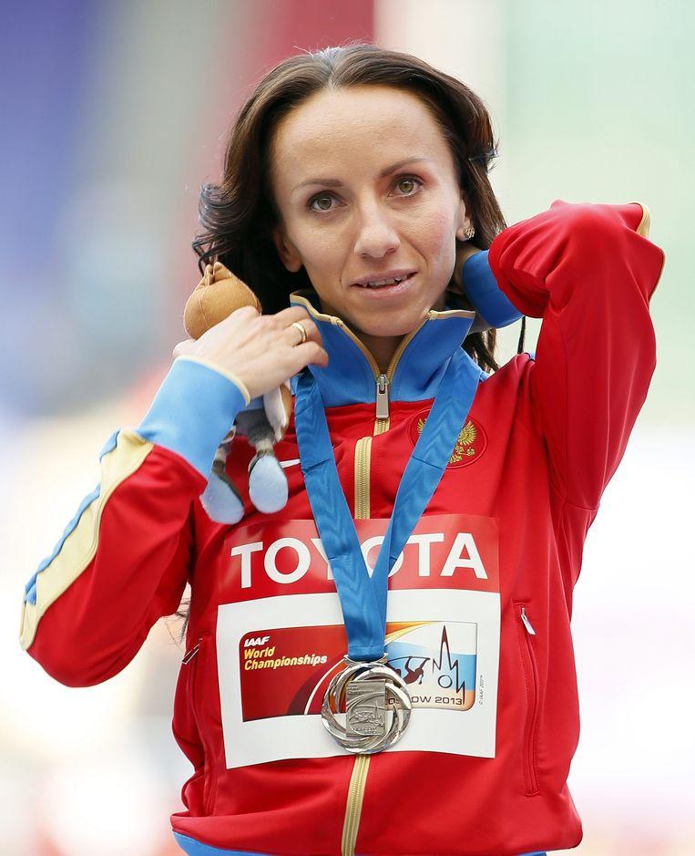 Atlete Maria Savinova nadat ze in 2013 goud won op de 800 meter. In de documentaire zei ze: