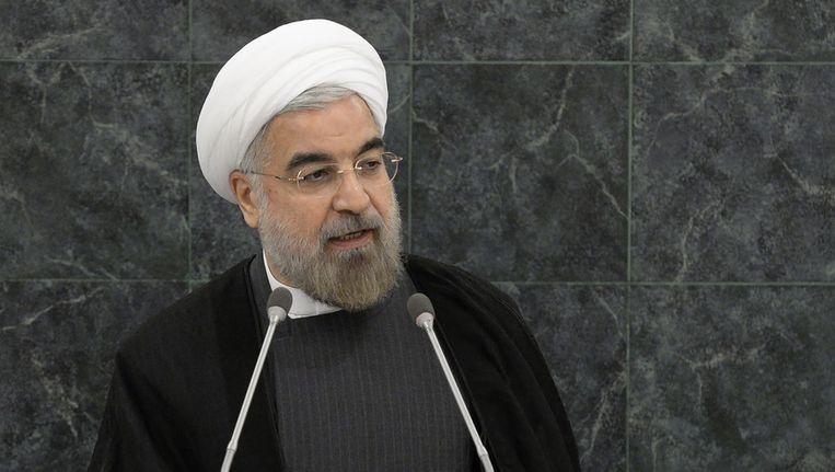 President van Iran Hassan Rohani gisteren tijdens de VN-vergadering in New York. Beeld afp