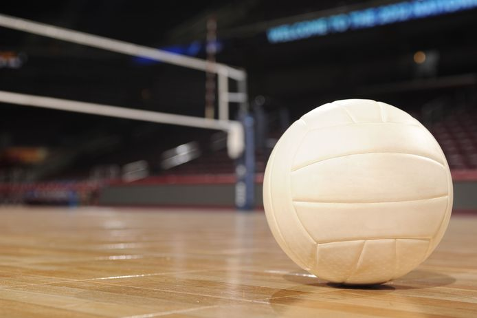 Volleyball on Wood Floor volleybal stockadr Getty Images