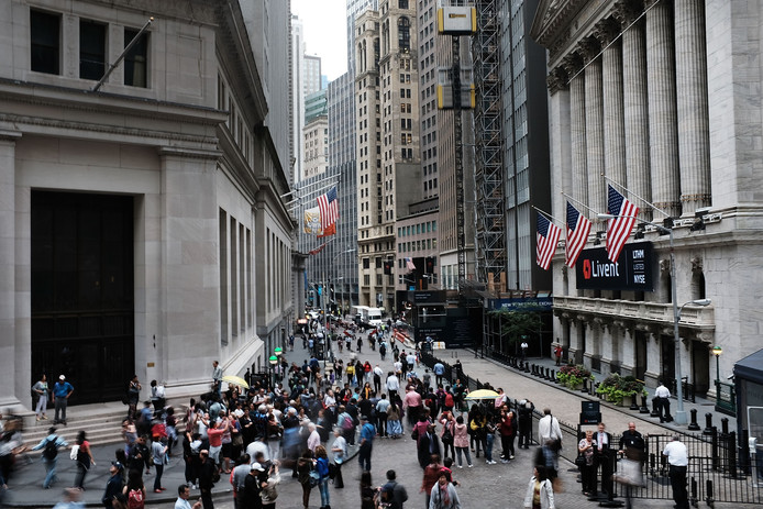 De New York Stock Exchange op Wall Street.