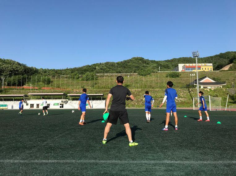 Koreaanse talenten trainen onder Son Woong-jung. Beeld Jeroen Visser