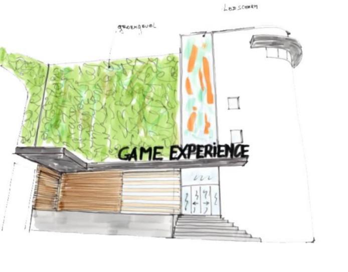 Een schets van hoe de nieuwe entree aan het Tongerloplein er uit zou kunnen komen te zien.