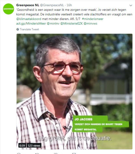 Schaijkenaar duikt op in campagne Greenpeace tegen megastallen