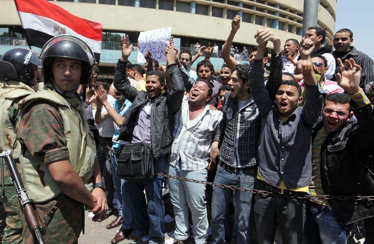 Anti-Mubarak protesten in 2011. Beeld EPA
