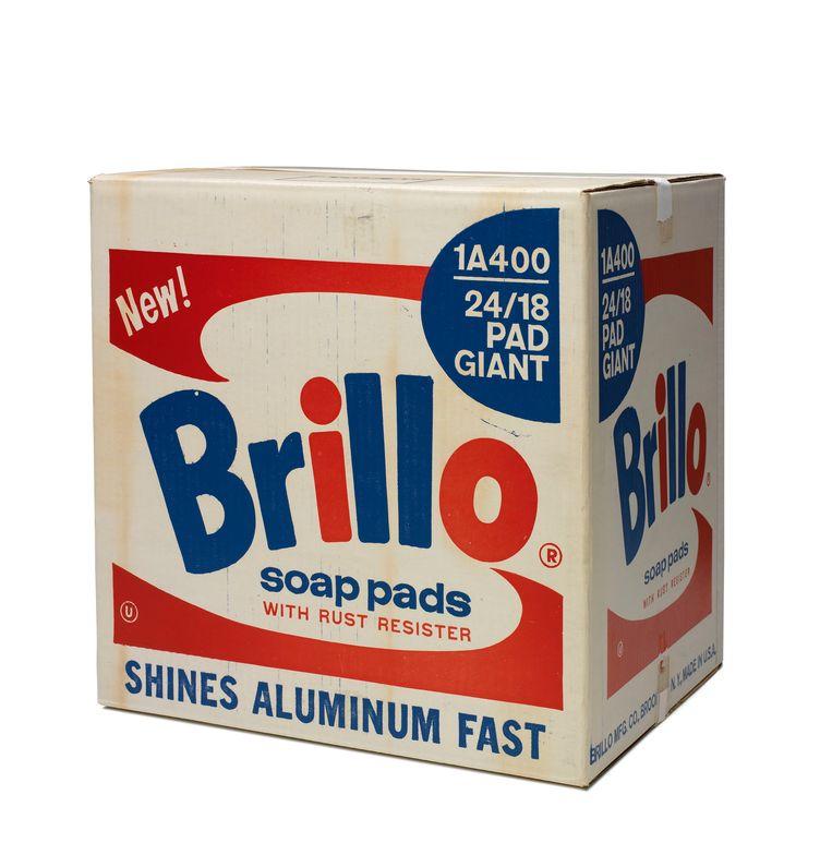 Originele kartonnen Brillo-doos. Beeld Andy Warhol, Brillo Soap Pads Box , 1968 copyright 2018 Andy Warhol Foundation for the Visual Arts/ARS, New York