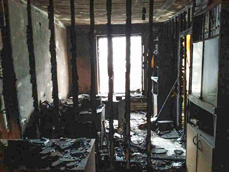 Het kantoor van de Russische mensenrechtenorganisatie Memorial in de deelrepubliek Ingoesjetië na de brand Beeld ap
