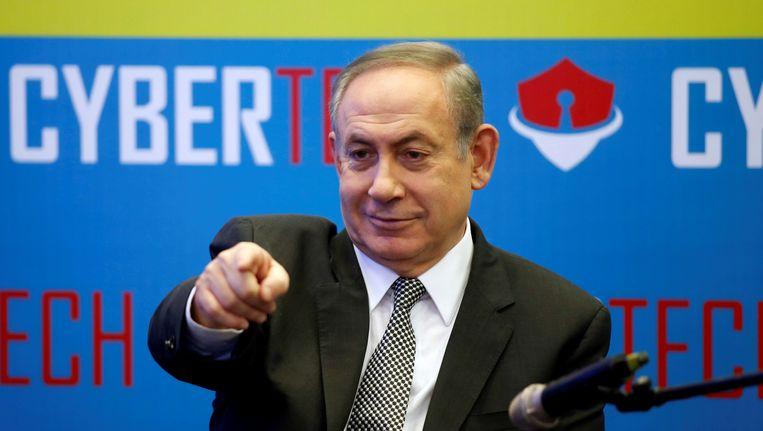 De Israelische premier Netanyahu op een techconferentie.