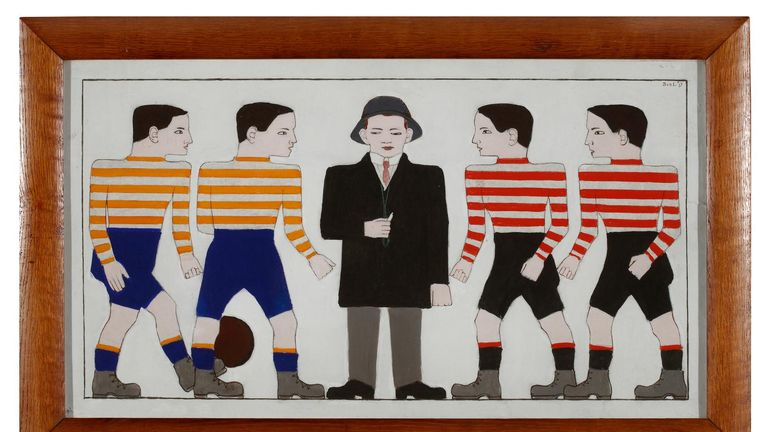 Bart van der Leck, Voetballers (1913). Beeld Gemeentemuseum Den Haag, langdurig bruikleen particuliere collectie