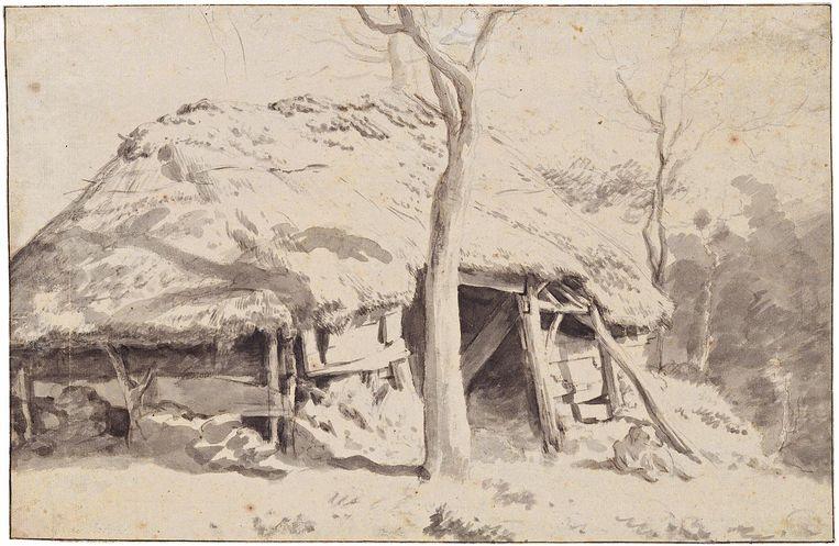 null Beeld Een hut of schaapskooi, jaartal onbekend, Peck Collection Boston.