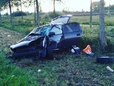 Auto tegen boom langs A15, bestuurder ongedeerd