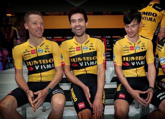 Steven Kruijswijk, Tom Dumoulin en Primoz Roglic.