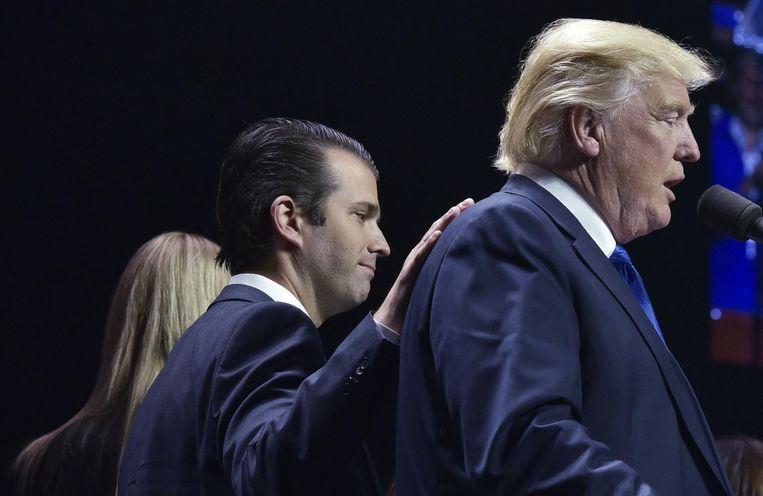 Donald Trump met zijn zoon Jr.