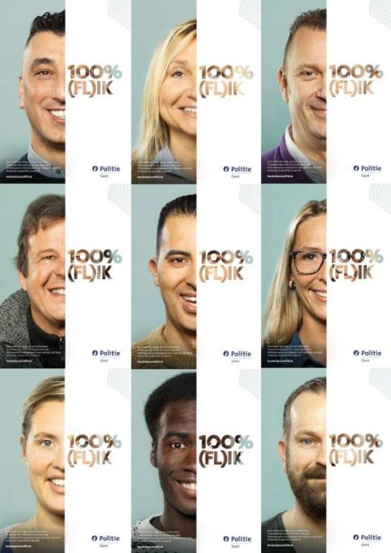 Met deze affiche wil de Gentse politie meer 'gekleurde' collega's lokken.