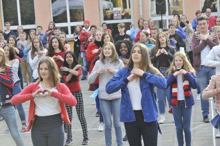 Op de speelplaats stonden de 170 leerlingen roerloos in verschillende poses, waarna ze begonnen dansen op de tonen van 'Shape of you' van Ed Sheeran.