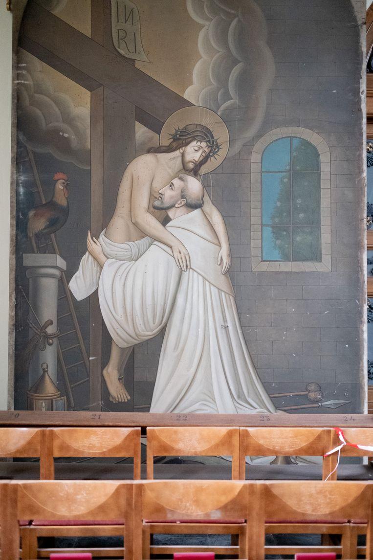 Het schilderij van Leon Bressers dateert uit 1906 en toont een visioen van Bernardus van Clairvaux.