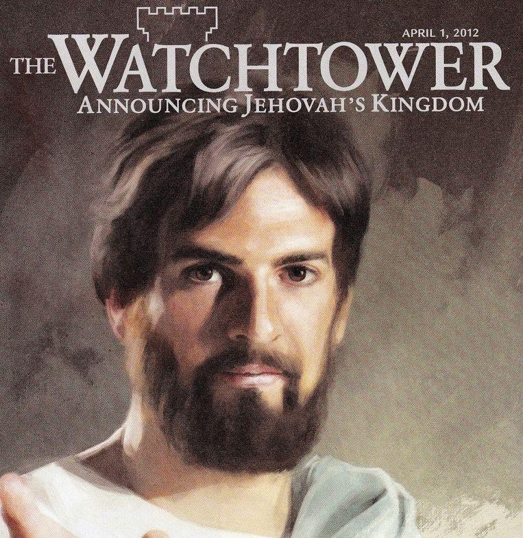 Fragment van een omslag van The Watchtower, het lijfblad van de Jehova's Getuigen. Beeld TR