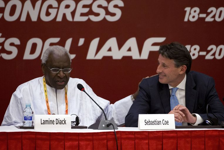 Lamine Diack (L) en Sebastian Coe Beeld ap
