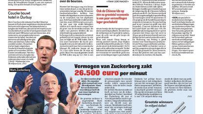 Vermogen van Zuckerberg zakt 26.500 euro per minuut