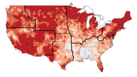 De temperatuur steeg de vorige eeuw al in zowat alle regio's van de Verenigde Staten.