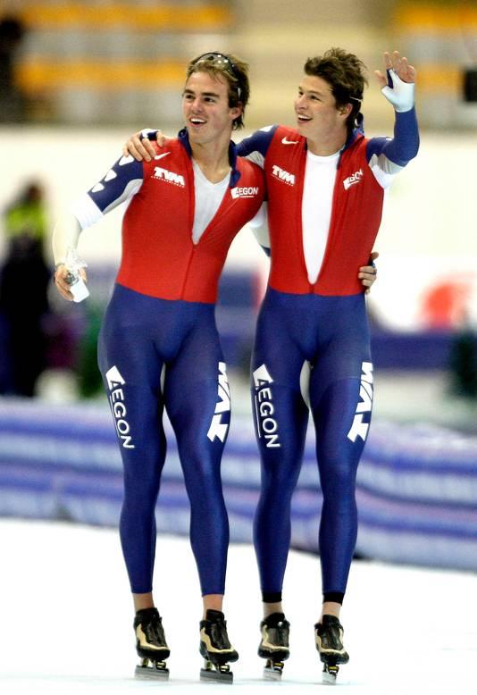 Olde Heuvel in 2008 samen met zijn jarenlange ploeggenoot en beste vriend Sven Kramer.