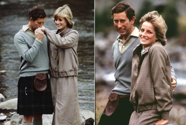Prins Charles en Diana tijdens de bekendmaking van hun verloving.