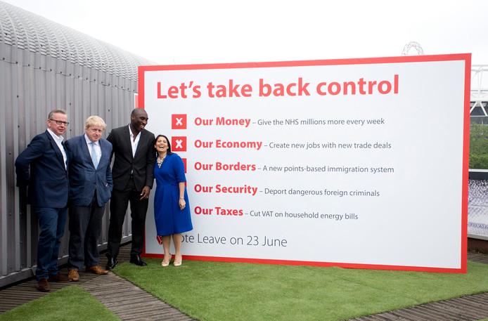 Michael Gove, Boris Johnson, Sol Campbell en Priti Patel.
