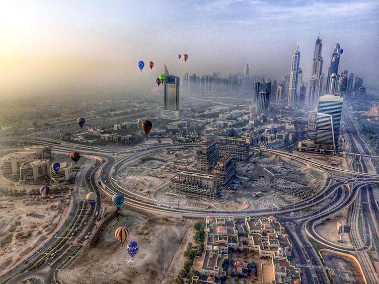 Een beeld van de World Air Games in Dubai in 2015, waar ballonvaarder Steven Vlegels uit Sinaai de tweede plaats behaalde.