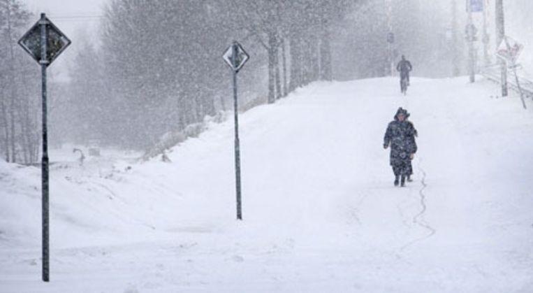 Werkloze jongeren in Amsterdam helpen senioren een handje tijdens de sneeuwdagen. Foto ANP Beeld