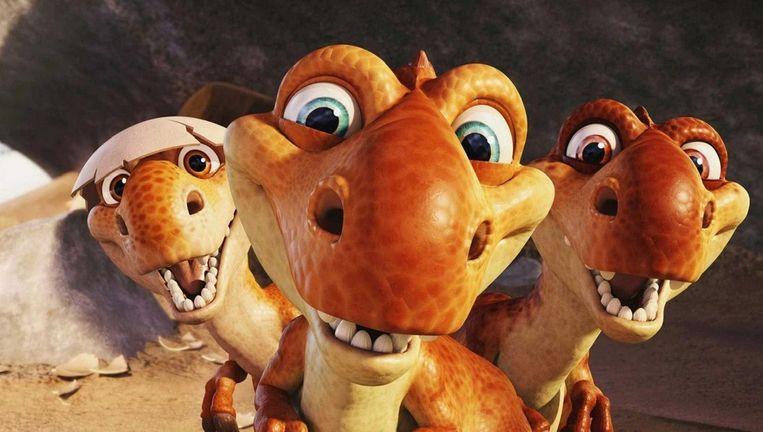 De drie pasgeboren dinosaurussen in Ice Age: Dawn of the Dinosaurs. Beeld