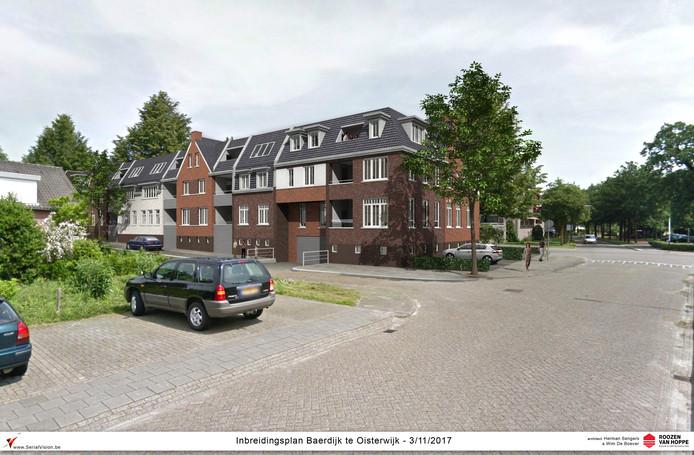 In het gebied tussen Rode Brugstraat en Baerdijk wil Petro van Zon een complex van 54 huurappartementen bouwen.