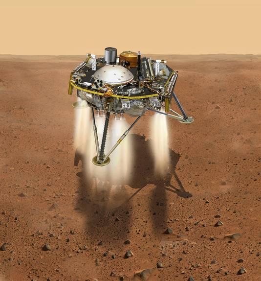 Als alles goed gaat, komt InSight met een gangetje van 8 kilometer per uur neer op Mars.