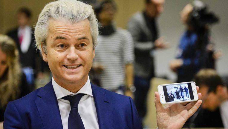 Geert Wilders in de rechtbank op Schiphol, 18 maart. Beeld anp