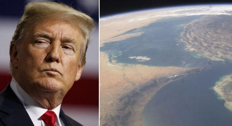 Donald Trump en een luchtfoto van de Straat van Hormuz.