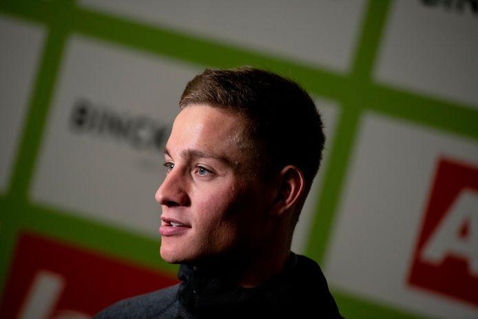 Mathieu van der Poel op de persconferentie voor de BinckBank Tour in Blankenberge.