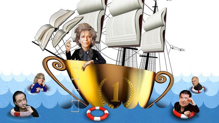Connie Palmen, omringd door vier grote schrijvers die zelden of nooit een grote literaire prijs kregen. Beeld Carolyn Ridsdale