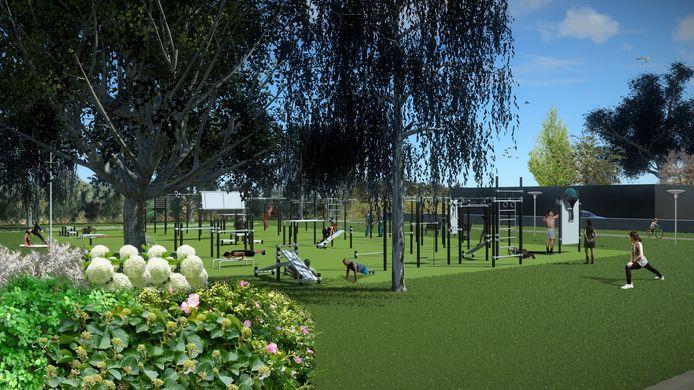 Impressie van het Urban Sport Park 't Schoot aan de Elburglaan/Halvemaanstraat in Eindhoven