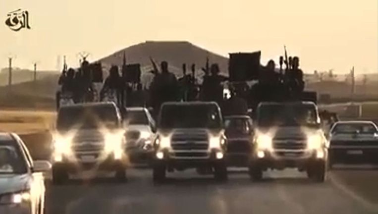 Beeld uit een IS-propagandafilmpje van afgelopen zomer Beeld afp