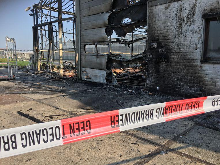 De zaakvoerders van de bloemen- en plantenkwekerij kwamen maandagochtend de schade opmeten na een felle brand in een van hun serres.
