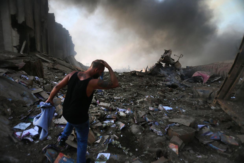 Explosie in Beiroet heeft grote schade aangericht. Beeld AFP