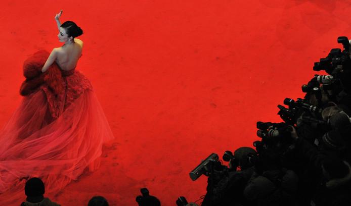 De Chinese Arthouse-actrice Huo Siyan op de rode loper van het Film Festival Berlinale.
