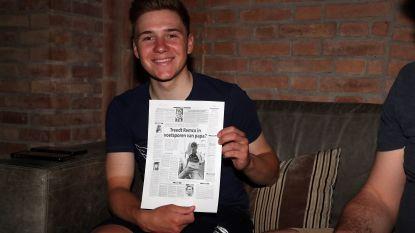 """Evenepoel viert vandaag 20ste verjaardag en krijgt van ons zijn eerste krantenpagina cadeau: """"Serieus, gaat dit over mij? Allez jong, straf"""""""