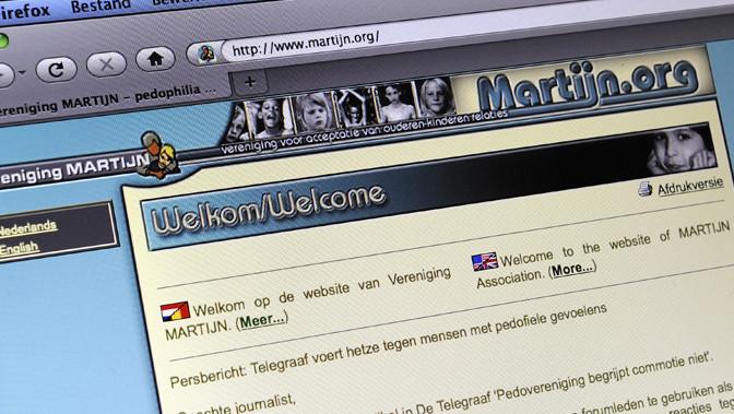 Screenshot van de website van pedofielenvereniging Martijn.
