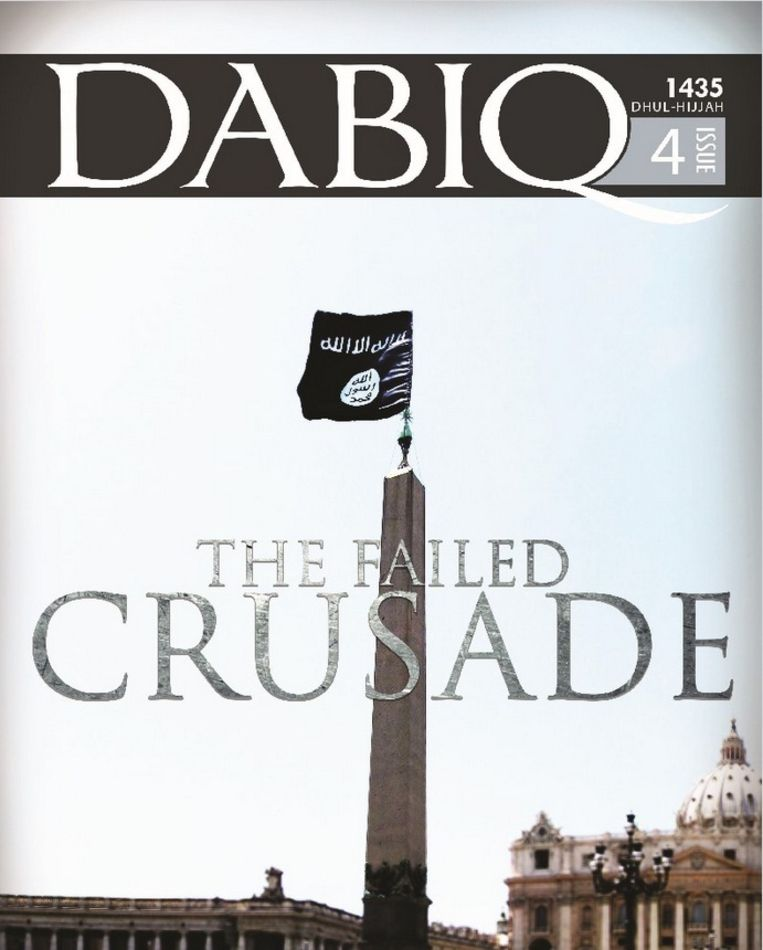 De cover van de vierde editie van de jihadistische glossy Dabiq. De vlag van IS prijkt op de obelisk voor de St. Pieter in Rome. Beeld Dabiq